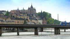 Stockholm old city view with metro passing, sweeden Stock Footage
