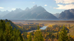 Time lapse Grand Teton in autumn at Snake River - stock footage