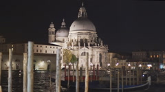 night close up view of basilica st mary, venice - stock footage