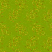 Seamless of curly yellow pattern with red circles - stock illustration