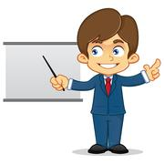 Businessman Presenting With Whiteboard - stock illustration