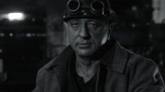 Portrait of Heavy Industry Worker in Hard Hat on Foundry. Black and White. Stock Footage