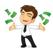 Businessman throwing money and feeling happy Stock Illustration