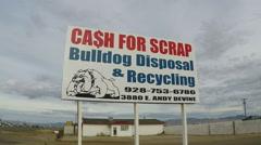 Sign Advertising Cash For Scrap Metal Recycling- Kingman Arizona Stock Footage