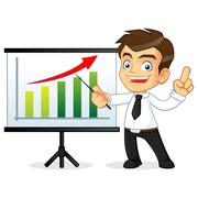 Businessman presenting on a whiteboard - stock illustration