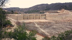 Effects of California Drought  on Bradbury Dam and Lake Cachuma Stock Footage