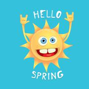 sun hand rock n roll icon vector . Spring - stock illustration