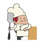 Chef holding a spatula - stock illustration