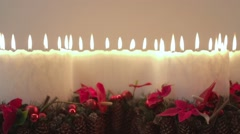 Homemade large set of burning candles and decoration for the Christmas eve Stock Footage