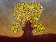 Autumn season tree - stock illustration