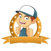 Stock Illustration of Delivery man giving thumbs up