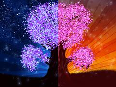 Day and night tree Stock Illustration