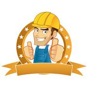 Handyman giving thumbs up - stock illustration