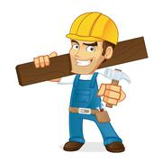 Handyman holding wood plank Stock Illustration