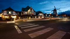 The Danish Town of Solvang, California at Night Timelapse Stock Footage