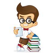 Nerd boy holding tablet Stock Illustration