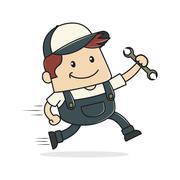Plumber holding wrench - stock illustration