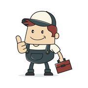 Plumber giving thumb up - stock illustration