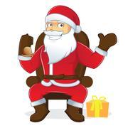 Santa Claus holding bell Stock Illustration