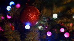 Christmas and New Year Decoration. Christmas Tree Lights Twinkling. - stock footage
