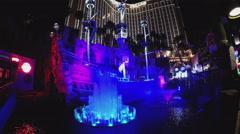 Pirate Ship And Lagoon With Treasure Island Casino- Las Vegas NV Stock Footage