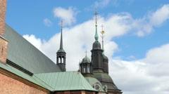 riddarholm church, one of oldest building in stockholm, sweden, - stock footage