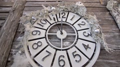 Wall clock shows five minutes to midnight on Christmas Eve - stock footage