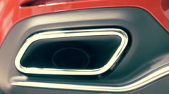Chrome exhaust pipes of the powerful supercar Stock Footage