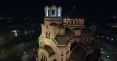 Beautiful Night Orthodox Church Stock Footage