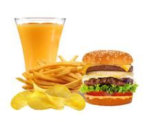 French fries in white box, cheeseburger and orange juice isolated on white - stock photo