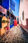 Everyday life on Burano island, province of Venice - stock photo