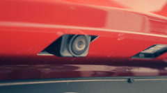 On the bumper of the car is retractable rear view camera to safe parking - stock footage