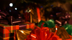Christmas gifts under the Christmas tree.  - stock footage