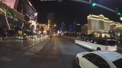 POV Driving Las Vegas Boulevard To Flamingo Road- Night Stock Footage