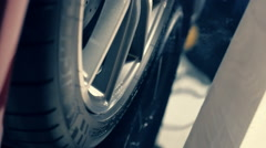 Aluminum alloy wheels with the components of the braking system Stock Footage