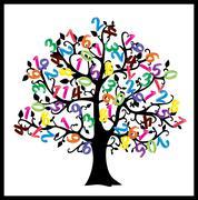Math tree. Digits illustration isolated on white background. - stock illustration