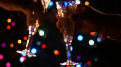 Holiday New Year's Eve Christmas. Filled champagne glasses. - stock footage