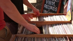 Vinyl Crate Digging - stock footage