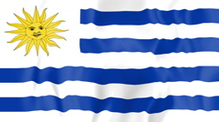 Animated flag of Uruguay Stock Footage