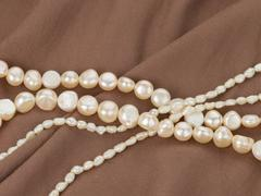 Beads made from freshwater pearls Stock Photos
