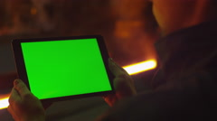 Using Tablet PC with Green Screen in Foundry. Industrial Environment. Stock Footage