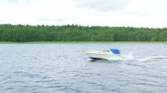 speed boat going on scandianvian waters near stockholm, sweden - stock footage