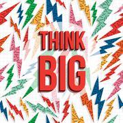 Think big motivation inspiration quote 80s retro Stock Illustration