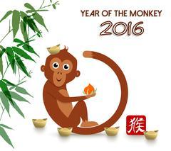 Chinese new year 2016 cute ape cartoon card Stock Illustration