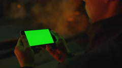 Using a Phone with Green Screen in Foundry. Industrial Environment. Stock Footage