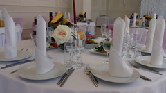 Festive table setting.  The Banquet. - stock footage