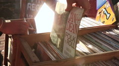 Vinyl Crate Digging  Stock Footage