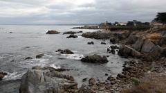 Stock Video Footage of Waves On Rocky Beach Monterey California Overcast Sky
