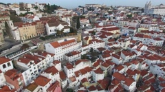 Stock Video Footage of Aerial View of Tradicional Residences of Lisbon, Portugal