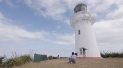 Light House East Cape North Island New Zealand.  Stock Footage